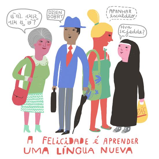 Ilustração - Felicidade é aprender uma língua nova